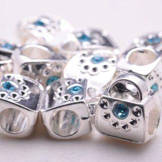 DIY 10 Pcs Zinc Alloy Vantige Indian Silver Plated Style Beads/charms for Pandora Necklace, Bracelet