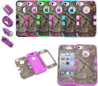 XYUN 3IN1 Purple Triple Layer Hybrid Real Tree Camo Hybrid Hard Case Cover for Iphone 4 4g 4s with Purple Car Charger+usb Data Cable +Us Wall Charger +Earphone: Cell Phones & Accessories