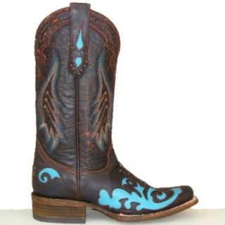 Corral Womens Chocolate Brown & Turquoise Cowgirl Boots: Shoes