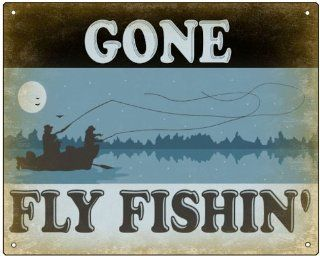 Fishing Sign fly fishing vintage style mancave gift wall decor 385  Yard Signs  Patio, Lawn & Garden