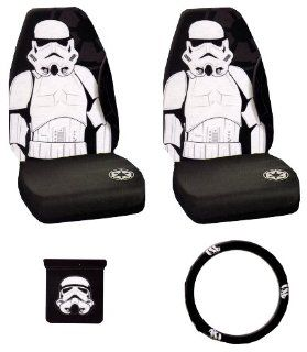 Storm Trooper with Galactic Empire Logo Star Wars Car Truck SUV Universal fit Seat Covers and Steering Wheel Cover and Vent Pocket Pouch Stuff Sak Auto Interior Accessories Combo Kit Gift Set   4PCS Automotive