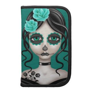 Sad Day of the Dead Girl on Teal Blue Folio Planner