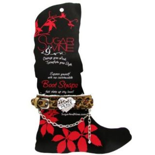 Sugar and Vine Leopard Boot Strap with Tattoo Heart with PEACE charm: Shoes
