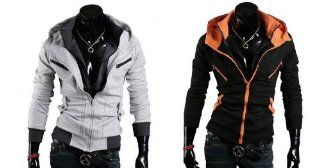 Assassin's Creed 3 Assassin Creed Clothing Assassin Creed Cosplay Desmond Miles New Trendy Jacket Hoodie Costume,2 Desmond Hoddie Jackets Combination(Black with Orange+ Grey) for Assassin's Creed 3 in Size XL: Toys & Games