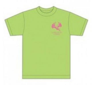 Longleaf Camo Llc 405SSS T Shirt with Pink Horns Logo Lime Small: Clothing