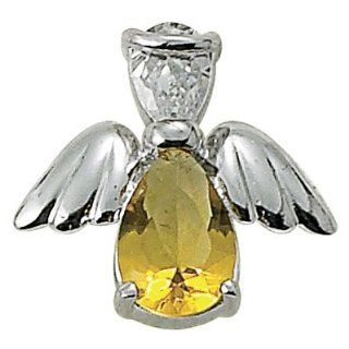 Sterling Silver November Topaz Birthstone Angel Wing Pin Birthstone Jewelry Birthstone Angel Wing Pins Gift Boxed Jewelry