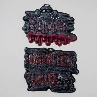 HAUNTED SIGN PLASTIC 3AST DESIGN KEEP OUT/BEWARE/HAUNTED HOUSE, Case Pack of 36   Decorative Hanging Ornaments