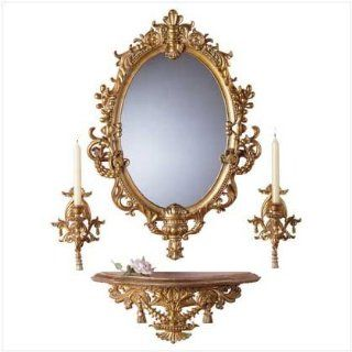 Wall Mirror and Sconce Set   Baroque Design   Wall Mounted Mirrors