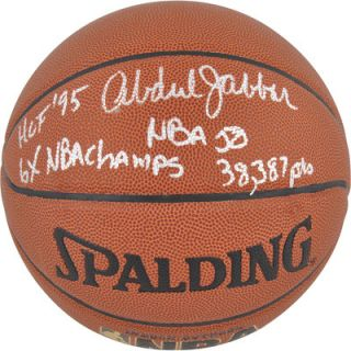Mounted Memories Kareem Abdul Jabbar Autographed Basketball with 4