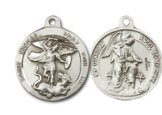 "St. Michael the Archangel & Guardian Angel Medal, Sterling Silver Pendant with 24"" Stainless Steel Chain: St Michael Guardian Angel Ss: Jewelry"