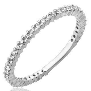 10K White Gold Diamond 3/4 Eternity Ring (I1 I2, GH, 0.26ct) Anniversary Rings Jewelry