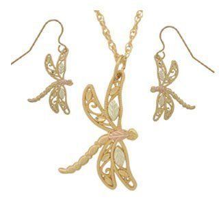 Dragonfly Black Hills Gold Jewelry Set: Jewelry