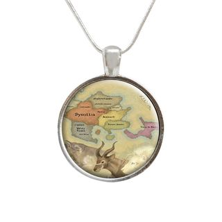 Map of the World Compass Glass Pendant and Necklace ABO Enterpises Necklaces