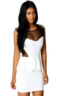 VIVILLI Popular Punk OL Collarless Clubwear Dress, White at  Women�s Clothing store