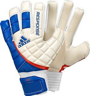 Adidas Response Pro Goalie Glove, White/Fresh Blue/Dark Orange, 8   Soccer Goalie Gloves  Sports & Outdoors