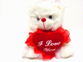 White Plush Teddy Bear with Red. I Love You Heart: Toys & Games