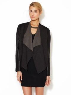 Rio Leather Sleeve Cardigan by Stella & Jamie