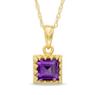 0mm Princess Cut Amethyst Crown Pendant in Sterling Silver with 14K
