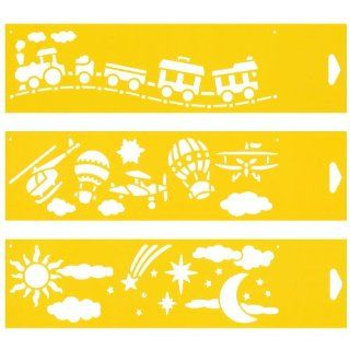 "Set of 3   12"" x 3"" Reusable Flexible Plastic Stencils for Cake Design Decorating Wall Home Furniture Fabric Canvas Decorations Airbrush Drawing Drafting Template   Toys Train Aircraft Balloon Plane Clouds Stars Sky:"