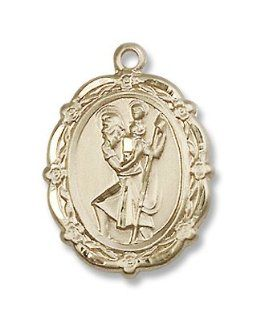 "Gold Filled St. Christopher Medal Pendant Charm with 18"" Gold Filled Chain in Gift Box. Catholic Saint Christopher Patron Saint of Bookbinders, Epilepsy, Gardeners, Mariners, Pestilence, Thunder storms, Travelers, Travel, Motorists, Truck Drivers, Bus"