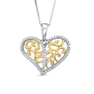 CT. T.W. Diamond Filigree Hearts Pendant in Sterling Silver and