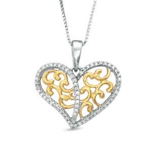 CT. T.W. Diamond Filigree Hearts Pendant in Sterling Silver and