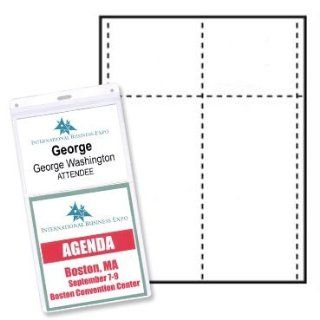 "4"" x 8"" Name Tag/Agenda Paper Name Tag Insert, 4 Color Pantone Match, Package of 500 (Item # NS2AGW4) : Business Card Stock : Office Products"