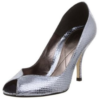 Te Casan by Natalie Portman Women's Polly Open Toe Pump, Silver Metallic Lizard, 39.5 EU (US Women's 9.5 M): Shoes
