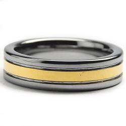Tungsten Carbide Men's Goldplated Ring (6 mm) Men's Rings