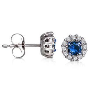 CT. T.W. Enhanced Blue and White Diamond Frame Stud Earrings in