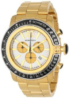 Glam Rock Men's GR33107 DEBZ Sobe Tech Chronograph White Enamel Dial Gold Ion Plated Stainless Steel Watch: Watches