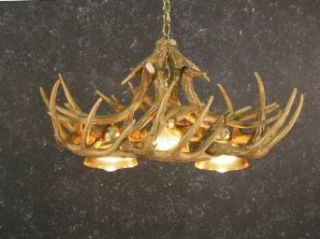 Whitetail Deer 10 Antler Chandelier with 3 Downlights   Deerhorn Chandelier