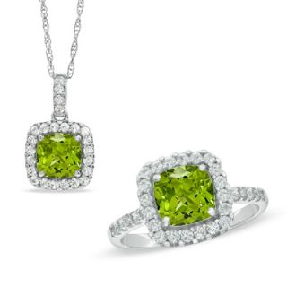 0mm Cushion Cut Lab Created Peridot and White Sapphire Frame Pendant