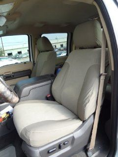 Exact Seat Covers, FD80 F485/F498 X3/V4, 2011 2013 Ford F250 F450 Lariat and King Ranch Custom Exact Fit Seat Covers for Front Buckets and Rear 60/40 with Integrated Cup Holders, Taupe: Automotive