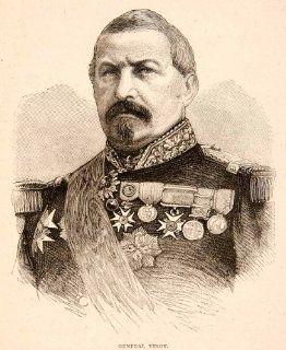 1874 Wood Engraving Portrait Costume Uniform General Vinoy Joseph French Soldier   Original In Text Wood Engraving   Prints