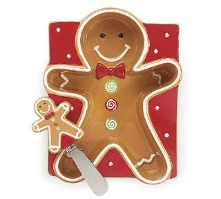Christmas Gingerbread Man Candy/Cheese Dish With Spreader   Flatware Cheese Servers
