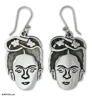 Sterling silver dangle earrings, 'Frida Kahlo Portrait': Jewelry