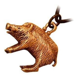 Bronze Wild Boar Celtic Pendant Necklace, a Symbol of Courage and Strength: HYPM Jewellery: Jewelry