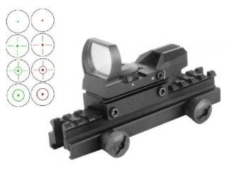"""Global Sportsman QD Tactical 1"""" Weaver Picatinny High See Thru Stanag Riser Mount For AR15 M4 Flattop Rifle Scope + CQB 4 Multi Reticle Dual Red / Green Open Reflex Sight with Weaver Picatinny Rail Mount   Combo Combination Package Kit Set Fits Ar15 M"""
