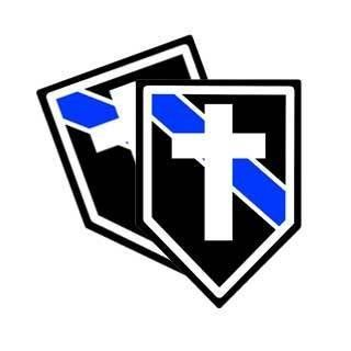 Police Chaplain Blue Line Decal with a Cross (Sticker)   4 Decals Automotive