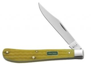 Case Cutlery 15704 Case John Deere Corn Cob Jigged Yellow Slimline Trapper, Yellow Bone: Home Improvement