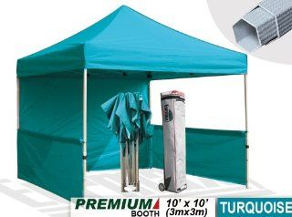 Eurmax Premium 10x10 Event Canopy Market stall Canopy Booth Portable Exhibition booth Trade show Display Outdoor Canopy BONUS: Four (4) Weight Bags + One (1) 10' Awning+Roller bag (Turquoise) : Patio, Lawn & Garden