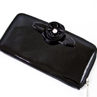 Renato Angi Italian Designer Black Leather Swarovski Rose Wallet Clutch Purse Bag at  Women�s Clothing store: Card Holder Women