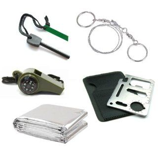 ChineOn Outdoor Emergency Survival Kit : Thermal Blanket + Larger Size Fire Starter Flint + Wire Saw + 3in1 Whistle + Card Knife : Survival Signal Whistles : Sports & Outdoors