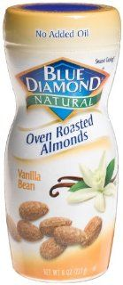Blue Diamond Natural Oven Roasted Almonds Vanilla Bean, 8 Ounce Jars (Pack of 6) : Grocery & Gourmet Food