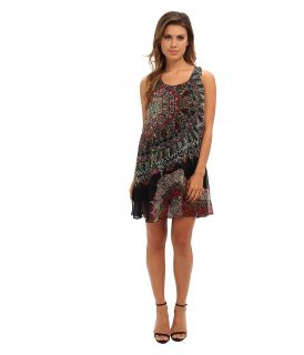 Angie Printed Tie Back Dress Womens Dress (Black)