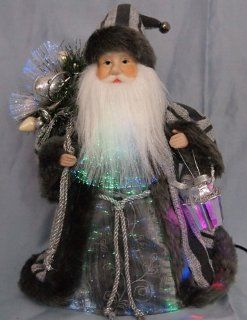 "Shop 12"" Grey Fiber Optic Lighted Santa Claus w/ Gift Sack & Latern Christmas Figure at the  Home D�cor Store"