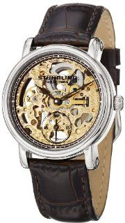 Stuhrling Original Women's 460L.1215K31 Classic Delphi Avon Mechanical Skeleton Brown Leather Strap Watch Watches