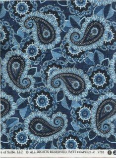 """Timeless Treasures Fabric Caprice Blue Paisley Fabric by Chong a Hwang #CAPRICE C 9765 ~ HALF YARD ~ 3"""" Paisley and 2"""" Flowers Quilt Fabric 100% Cotton 45"""" Wide"""