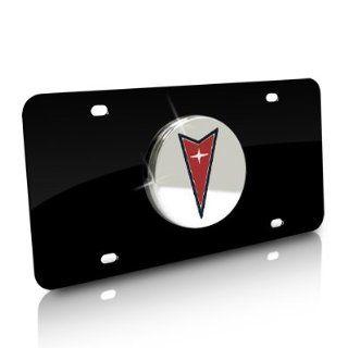 Pontiac Chrome Logo on Black Metal License Plate Automotive